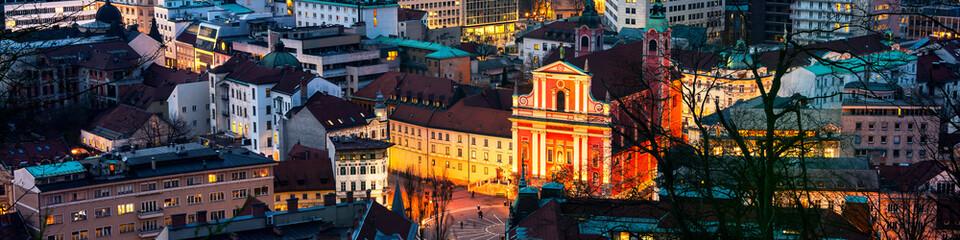 Aerial view of Ljubljana, Slovenia at night