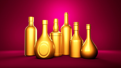 Golden bottle of elite alcoholic drinks on a pink background