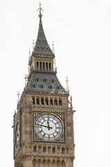 Big Ben in Westminster, London, isolated on a white background