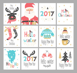 Set of New Year and Christmas greetings cards. Vector illustration