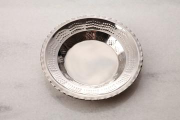 silver empty plate