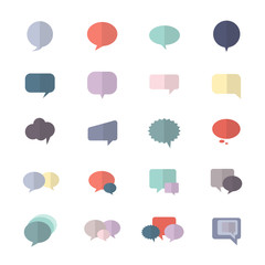 Speech, Bubble and Chat Icon Set Of Abstract Vector Style Colorful Flat Icons