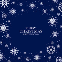 """Blue Christmas background with white snowflakes and text """"Merry Christmas & Happy New Year"""". Frame from snowflakes for your Christmas design."""