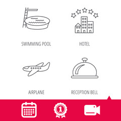 Achievement and video cam signs. Hotel, swimming pool and airplane icons. Reception bell linear sign. Calendar icon. Vector
