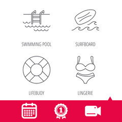 Achievement and video cam signs. Surfboard, swimming pool and bikini icons. Lifebuoy linear sign. Calendar icon. Vector