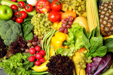 Fruits and vegetables background, closeup