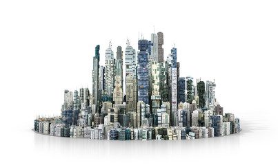 Urban concept. View to modern city from high-rise buildings on w