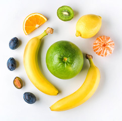 Top view image of a healthy eating with fresh fruits