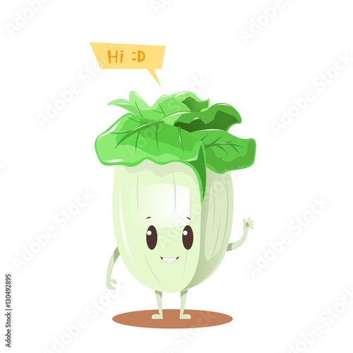 """Chinese cabbage cartoon character design"" Stock image and ..."