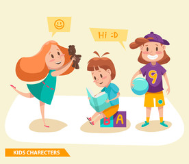 kids boys and girls playing characters design