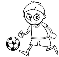 boy playing ball for coloring