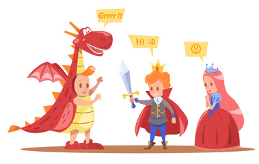 kids king and queen characters design with dragon