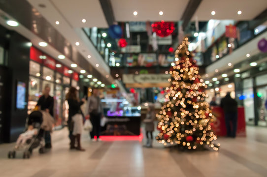 Abstract blur image of shopping mall on christmas time for background