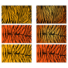 Realistic Tiger Stripes Vector Pattern Background Stock Collection