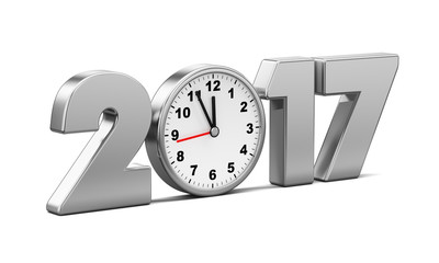 New Year 2017 metal clock isolated on a white background. 3d ren