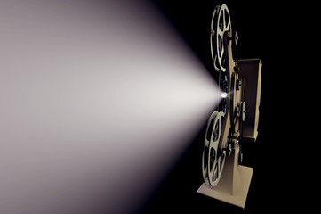 3D illustration of retro film projector with light beam on black front view