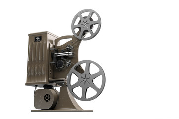 3D illustration of retro film projector isolated on white right side view
