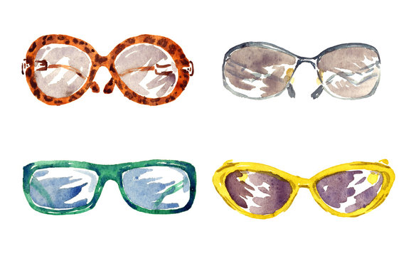 Shapes of male and female glasses, isolated set hand painted watercolor illustration