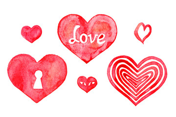 Hearts watercolor, isolated set hand painted watercolor illustration