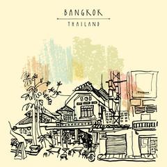 Bangkok, Thailand, Asia. Old houses in Khao San Road touristic area. Travel sketch. Vintage hand drawn touristic postcard