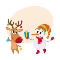 funny deer holds Christmas toys and snowman gift box, cartoon vector illustration isolated with background for text.. Deer and snowman, Christmas attributes, decoration elements