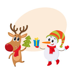 funny reindeer holding a Christmas tree and a snowman holding a gift box, cartoon vector illustration with background for text.. Deer and snowman, Christmas attributes, decoration elements