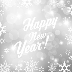 Silver background with snowflakes and Happy New Year text - squa