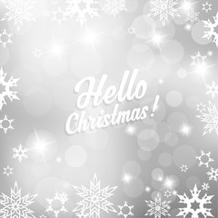 Christmas silver background with snowflakes and Hello Christmas