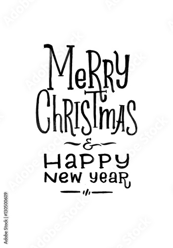 merry christmas happy new year retro vector poster black and white monochrome design ink