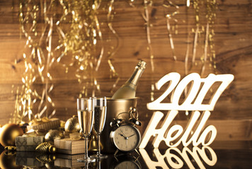 2017 Golden New Years Eve celebration background. Place for typography