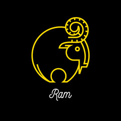 Logo of an abstract yellow line wild ram icon on black background. Vector illustration.
