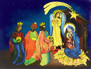 Christmas nativity religious abstract artistic Bethlehem crib scene, with Holy family Mary and baby Jesus and three wise men.holiday background, illustration.