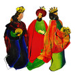 Three kings or three wise men. Christmas nativity abstract artistic textured watercolor style illustration.