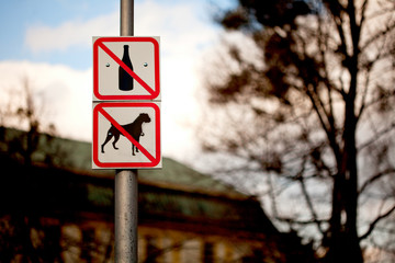 ´No alcohol and dogs sign