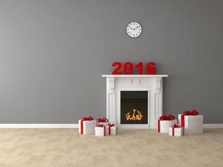 Комната с камином и подарками 2016 год