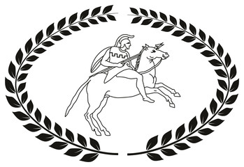 Hand drawn decorative logo with the ancient Greek warrior.