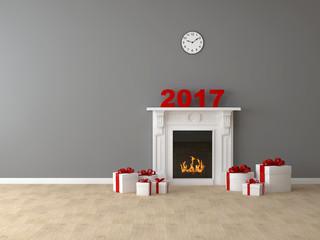 Комната с камином и подарками 2017 год