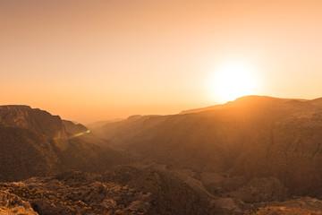 View of the dana Valley, Jordan, at sunset