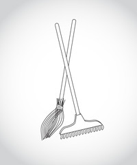 black-and-white figure of a rake and broom standing down for the harvesting of leaves, debris, work in the garden, in the park, outdoors, in the garden on a gray background, vector illustration