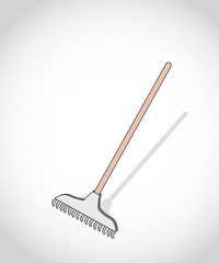 colored figure rake for cleaning leaves in the garden in the garden on a gray background, vector illustration