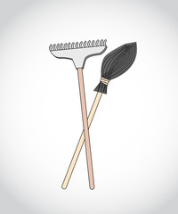 colored figure rake and broom standing up for the harvesting of leaves, debris, work in the garden, in the park, outdoors, in the garden on a gray background, vector illustration