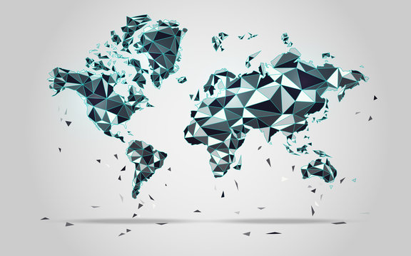 World map in polygonal style; polygon elements for info graphics; falling apart worl map