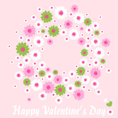 Happy Valentines day vector background. Wreath with spring colorful daisies.