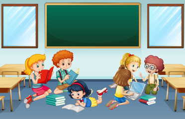 Many children reading and working in group at school