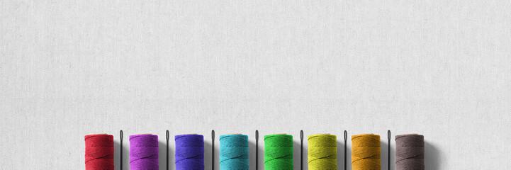 Nadel und Faden auf Leinenstoff - Banner | Hintergrund