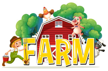 Font design with word farm with farmer and animals