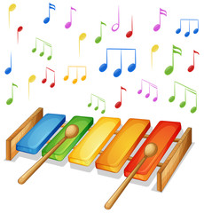 Xylophone with music notes background