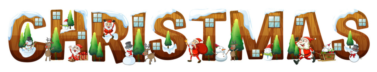 Font design for word christmas with Santa