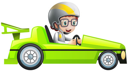 Boy in green racing car