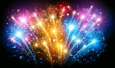 Colorful Fireworks. Vector